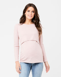 Dusty Pink Rib Nursing and Maternity Top