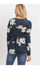 Load image into Gallery viewer, Maternity & Nursing Tie Back Shirt - Navy Floral
