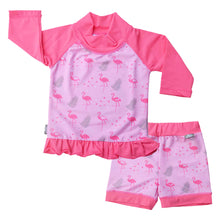 Load image into Gallery viewer, Baby/ toddler UV Shorts and Shirt Set - Flamingo