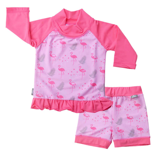 Baby/ toddler UV Shorts and Shirt Set - Flamingo