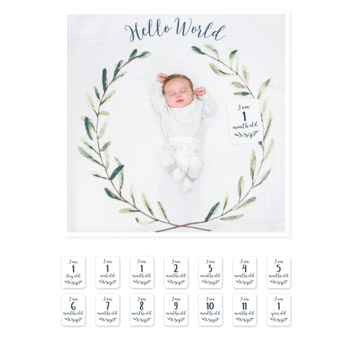 Milestone Muslin Blanket and Card Set - Hello World