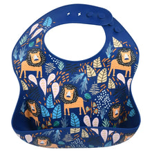Load image into Gallery viewer, Lion Print Silicone Bib with Crumb Catcher
