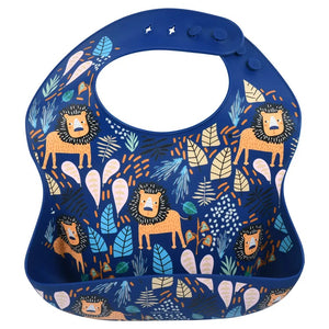 Lion Print Silicone Bib with Crumb Catcher