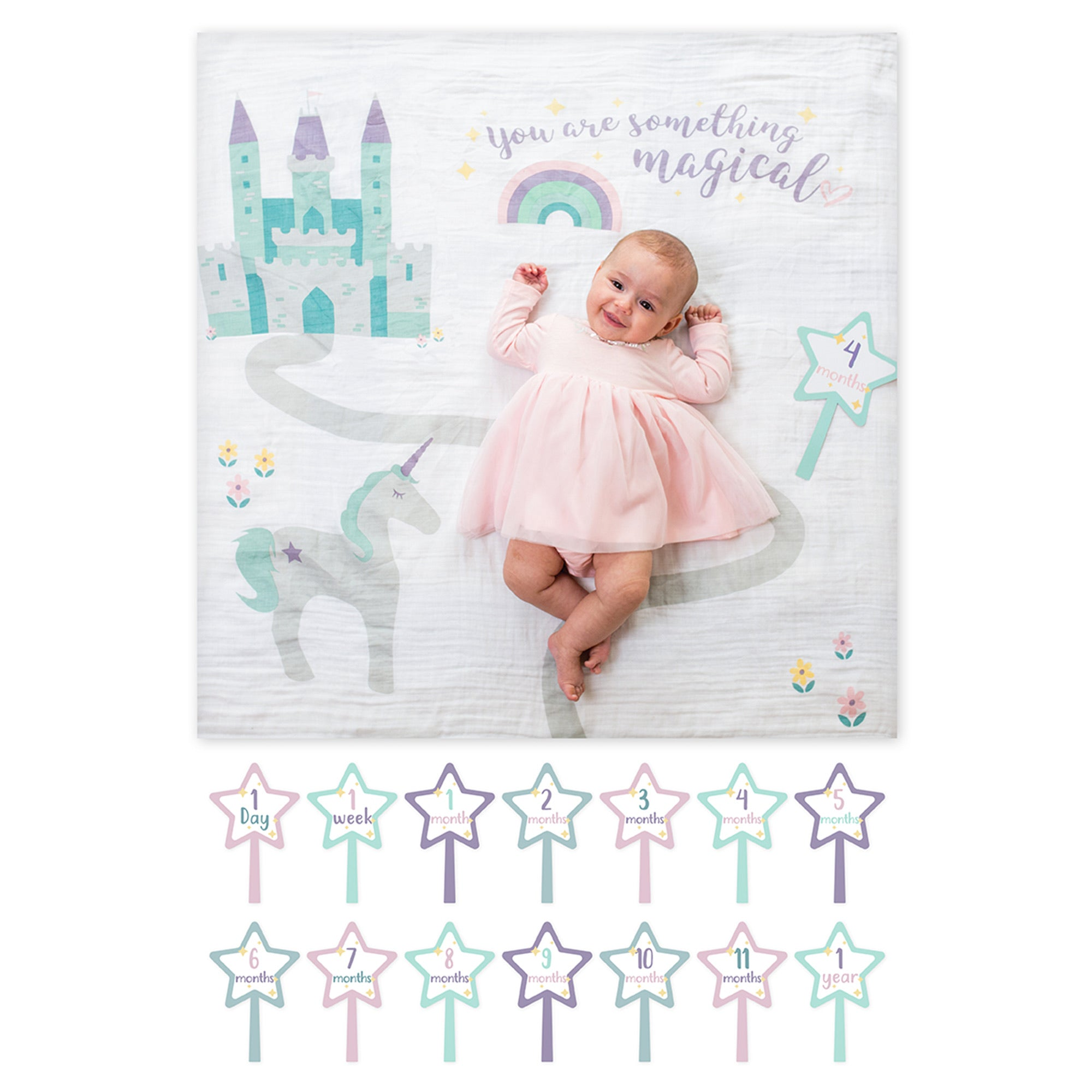Milestone Muslin Blanket & Card Set - Something Magical