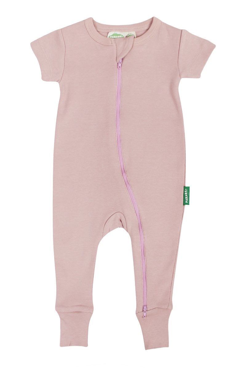 2 Way Zip Baby Romper - Misty Rose