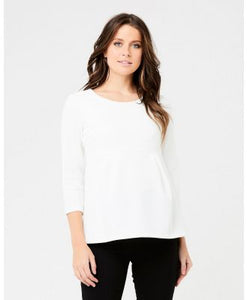 Maternity Waffle Peplum Top with Sleeves