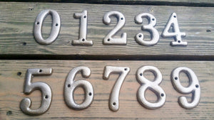 Cast Iron House Numbers Aged Brass 3.5 inches