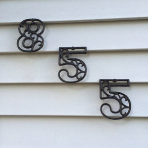 Metal House Numbers Cast Iron Wall Metallic Brass/Gold Hangers Decorative Victorian Decor 4.5 inches