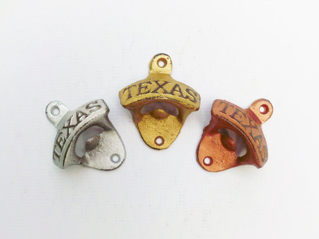 Texas Bottle Opener Pick Your Metallic  Color Rustic Cast Iron Wall Mount
