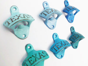 Texas Bottle Opener Pick Your Color Rustic Cast Iron Wall Mount Distressed Country Decor