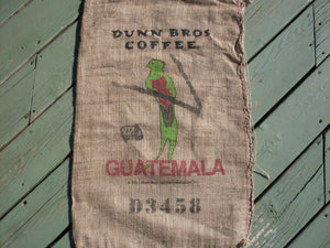 Burlap Coffee Bag, Dunn Bros Gunny Sack, Guatemala Bird, Advertising, Home Decor DIY