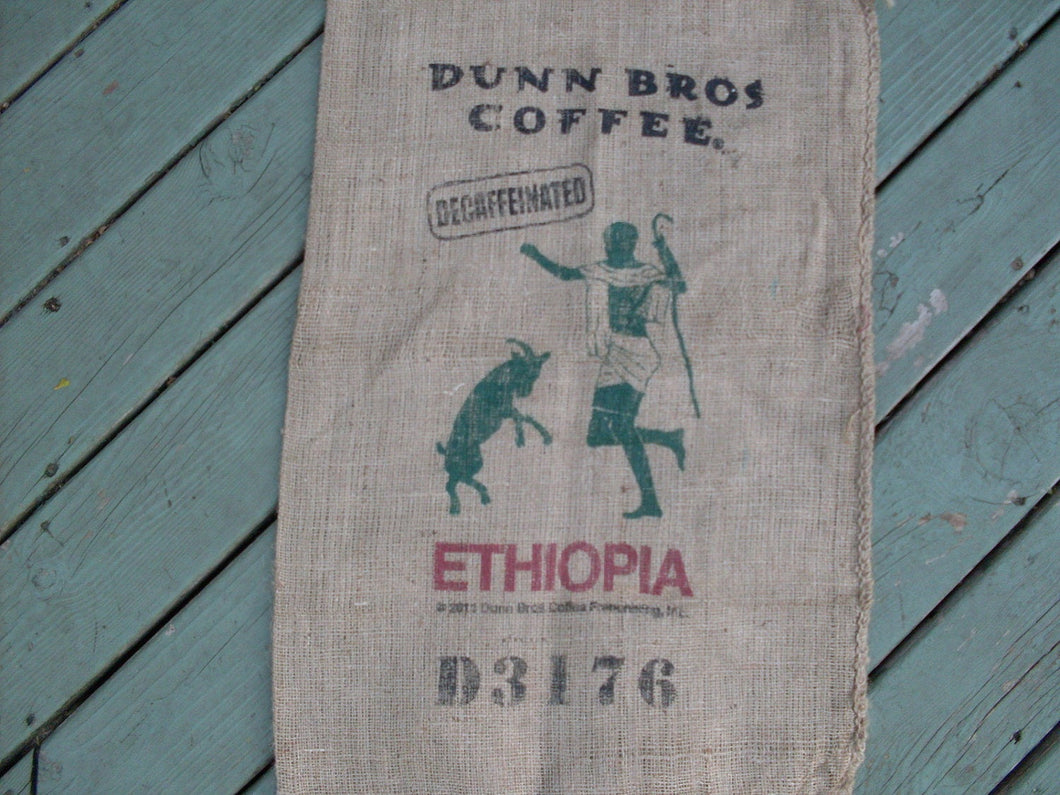 Burlap Coffee Bag, Dunn Bros Gunny Sack, Ethiopia Goat, Advertising, Home Decor, Rustic Decor