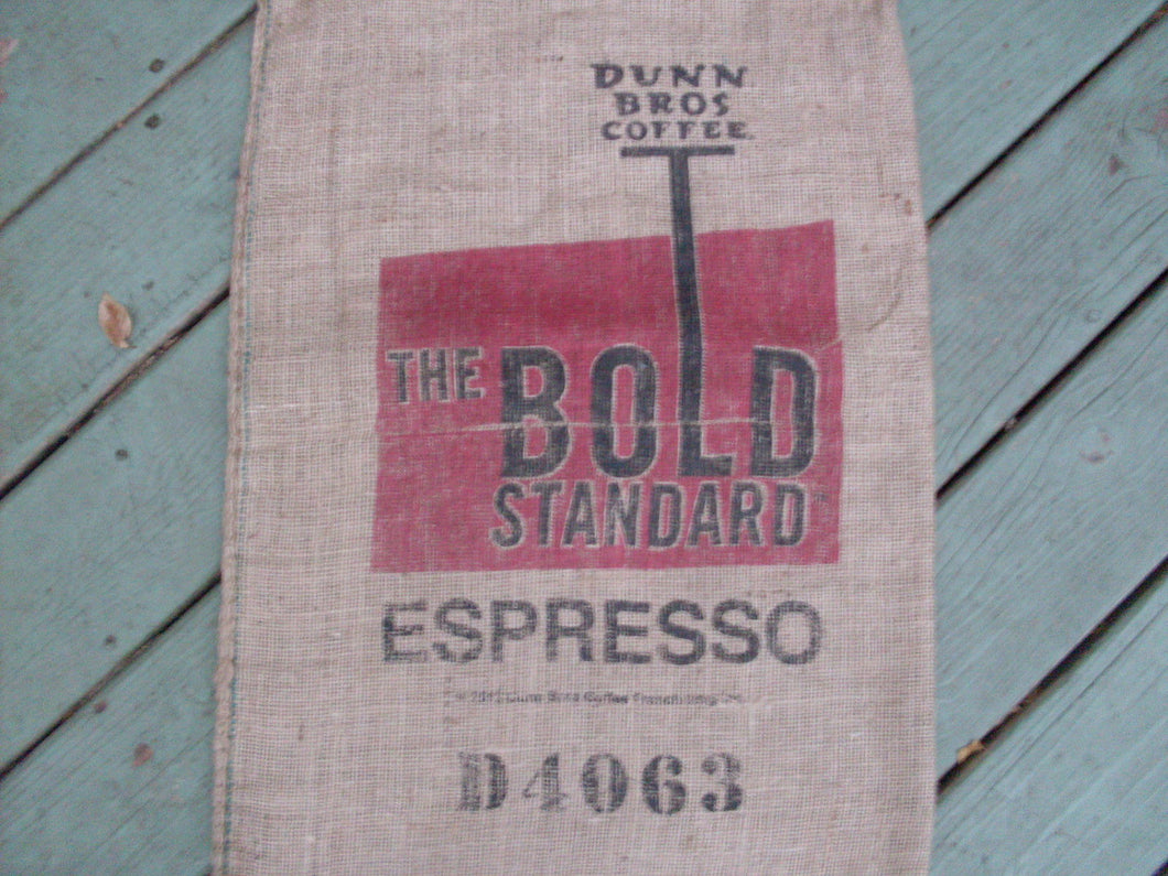 Burlap Coffee Bag, Dunn Bros Gunny Sack, The Bold Standard Espresso, Advertising, Limited Quantity