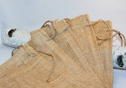 10 Burlap Gift Bags 6x10 For Party Favors With Drawstring Jute Rustic Wedding Party Reception Supplies