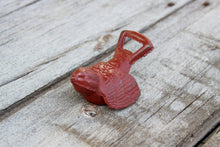 Load image into Gallery viewer, Bottle Opener Bird Distressed Barn Red  Rustic Cast Iron Open Here Bar Decor Shabby