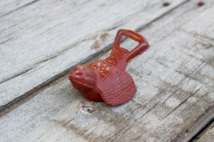 Bottle Opener Bird Distressed Barn Red  Rustic Cast Iron Open Here Bar Decor Shabby