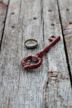 Load image into Gallery viewer, Bottle Opener Skeleton Key Cast Iron Victorian Faded Barn Red