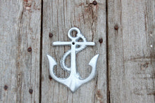 Load image into Gallery viewer, Coat Hooks Nautical Beach House Decor Anchor Wall Mount Cast Iron Metallic Silver Hat Rack