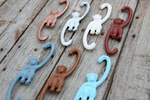 Load image into Gallery viewer, Hanging Monkey Pick Your Color Cast Iron Hook for Hanging Planter, Pot Rack, or Spring Garden Stocking Stuffer Gift  for Mom