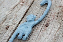 Load image into Gallery viewer, Swinging Monkey Hook Slate Blue/Grey Cast Iron for Hanging Planter, Pot Rack, or Stocking Hook