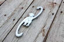 Load image into Gallery viewer, Hanging Monkey Hook Cast Iron Metallic Silver for Hanging Planter, Pot Rack, or Stocking Hook