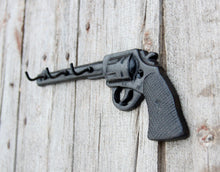 Load image into Gallery viewer, Key Hooks Black Pistol Wild West Revolver Old Gun Three Cast Iron Rustic Cabin Decor Christmas in July CIJ