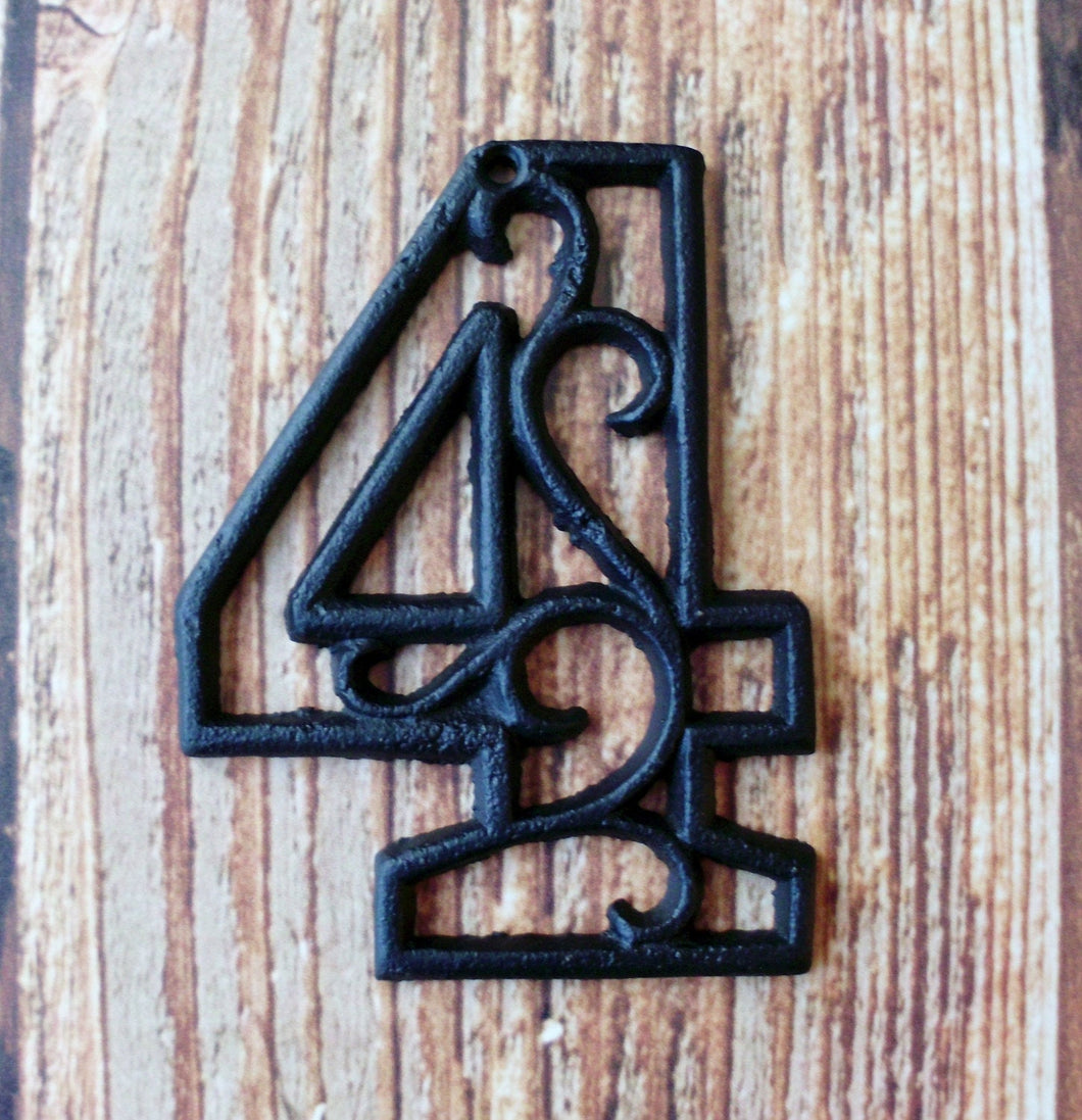 House Number Four Cast Iron Wall Hangers Decorative Victorian Decor 4.5 inches Table Numbers