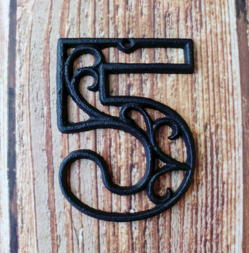House Number Five Cast Iron Wall Hangers Decorative Victorian Decor 4.5 inches Table Numbers
