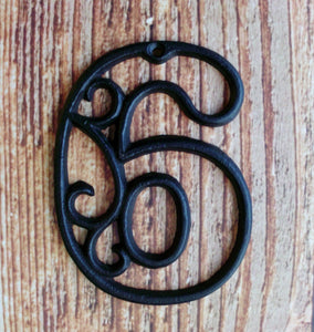 House Number Six Cast Iron Wall Hangers Decorative Victorian Decor 4.5 inches Table Numbers