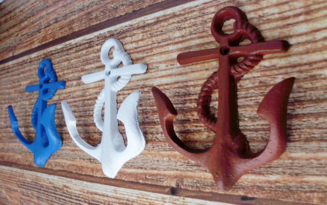 Anchor Hooks Set of 3 Red White and Blue Nautical Pool House Decor Wall Mount Cast Iron