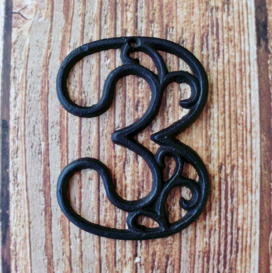 House Number Three Cast Iron Wall Hangers Decorative Victorian Decor 4.5 inches Table Numbers