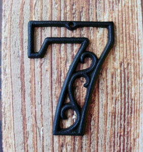 House Number Seven Cast Iron Wall Hangers Decorative Victorian Decor 4.5 inches Table Numbers