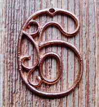 Load image into Gallery viewer, House Number Six Metallc Copper Cast Iron Wall Hangers Decorative Victorian Decor 4.5 inches Table Numbers
