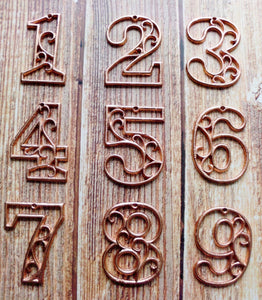House Number Six Metallc Copper Cast Iron Wall Hangers Decorative Victorian Decor 4.5 inches Table Numbers
