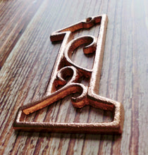 Load image into Gallery viewer, House Number One Metallic Copper Cast Iron Wall Hangers Decorative Victorian Decor 4.5 inches Table Numbers
