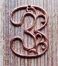 Load image into Gallery viewer, House Number Three  Metallic Copper Cast Iron Wall Hangers Decorative House Warming Gift 4.5 inches Table Numbers