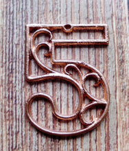 Load image into Gallery viewer, House Number Five  Metallic Copper Cast Iron Wall Hangers Decorative House Warming Gift 4.5 inches Table Numbers