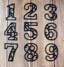 Load image into Gallery viewer, House Number One Metallic Silver Cast Iron Wall Hangers Decorative Victorian Decor 4.5 inches Table Numbers