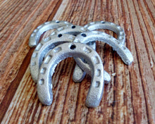 Load image into Gallery viewer, Small Lucky Horseshoes Charms Metallic Silver Set of Six Cast Iron Good for Key Chains Western Party Favors St Patricks Day