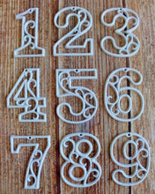 Load image into Gallery viewer, Victorian House Numbers Cast Iron Wall Hangers Decorative Decor 4.5 inches Table Numbers