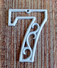 Load image into Gallery viewer, House Number Seven White Cast Iron Wall Hangers Decorative Victorian Decor 4.5 inches Table Numbers