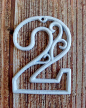 Load image into Gallery viewer, House Number Two White Cast Iron Wall Hangers Decorative Victorian Decor 4.5 inches Table Numbers