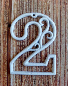 House Number Two White Cast Iron Wall Hangers Decorative Victorian Decor 4.5 inches Table Numbers