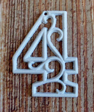 Load image into Gallery viewer, House Number Four White Cast Iron Wall Hangers Decorative Victorian Decor 4.5 inches Table Numbers