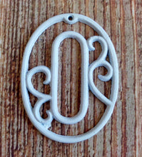 Load image into Gallery viewer, House Number Zero White Cast Iron Wall Hangers Decorative Victorian Decor 4.5 inches Table Numbers