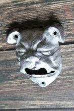 Load image into Gallery viewer, Bulldog Bottle Opener Wall Mount Metallic Silver Rustic Cast Iron Bar Decor Bull Dog