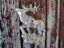 Load image into Gallery viewer, Elk Wall Mounted Hook Cast Iron Metallic Silver Rustic Hat Rack Rustic Cabin Decor