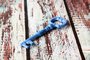 Bottle Opener Victorian Skeleton Key Blue Ornate Decorative Bar Tool Awesome Home Brewing