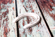 Load image into Gallery viewer, Small Horseshoe White Wedding Favor Western Decor Rustic Horse Shoe Wild West Cowboy Party Favor