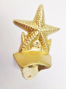Star Fish Bottle Opener Metallic Gold Nautical Decor Beach House Starfish Wall Mounted Beer Opener